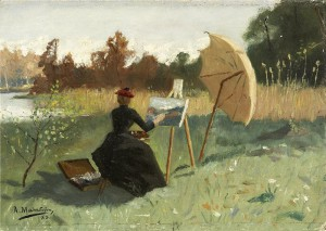 August Malmstrom At the Easel